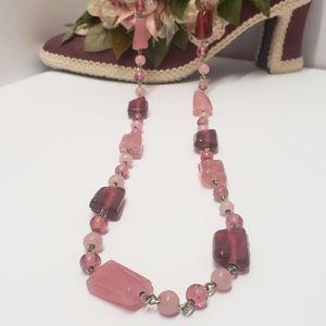 Gorgeous Pink Vintage Glass Beaded Necklace